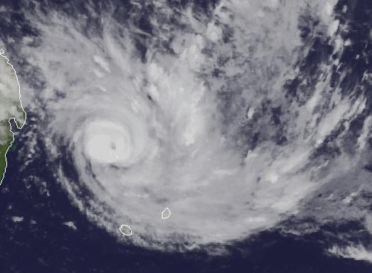 Tropischer Sturm Bansi bei Mauritius Satellitenbild 11. Januar 2015