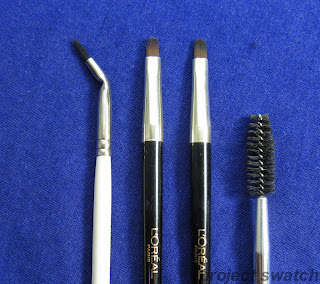 Benefit Get Bent brush, L'oreal brush x2, spoolie