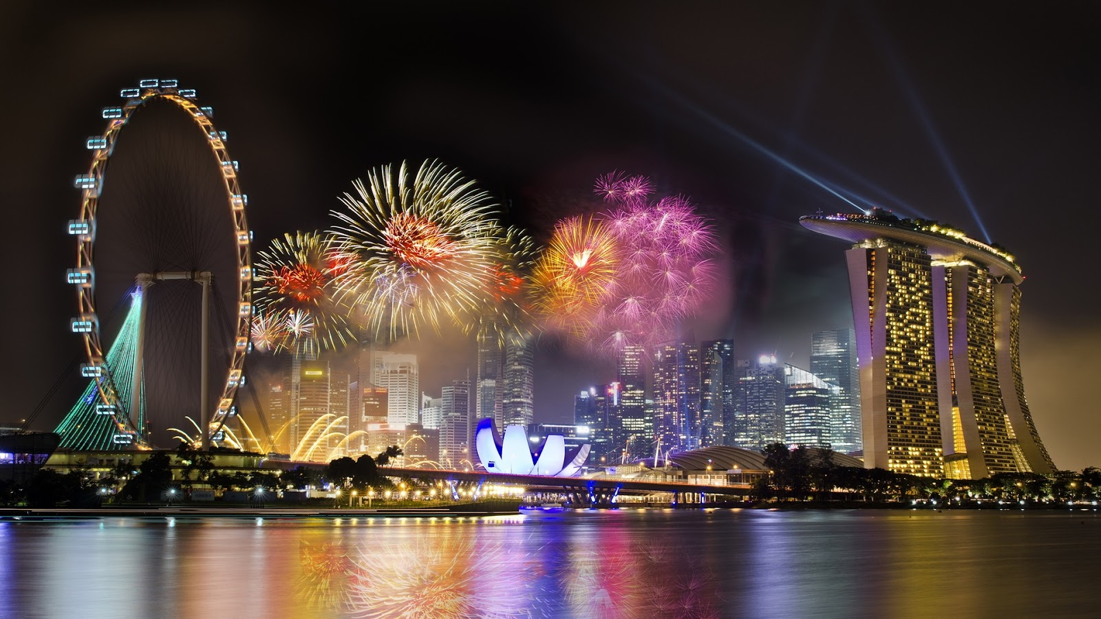 Colorful Fireworks City Singapore
