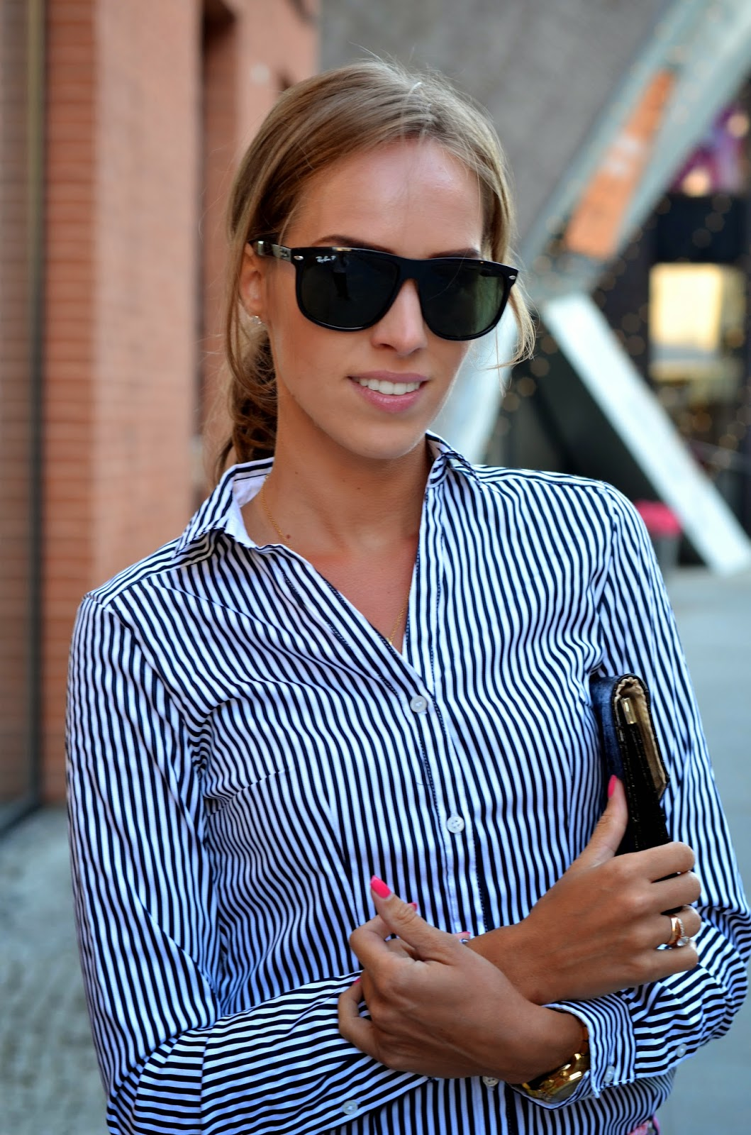 ray ban high street sunglasses black white striped shirt