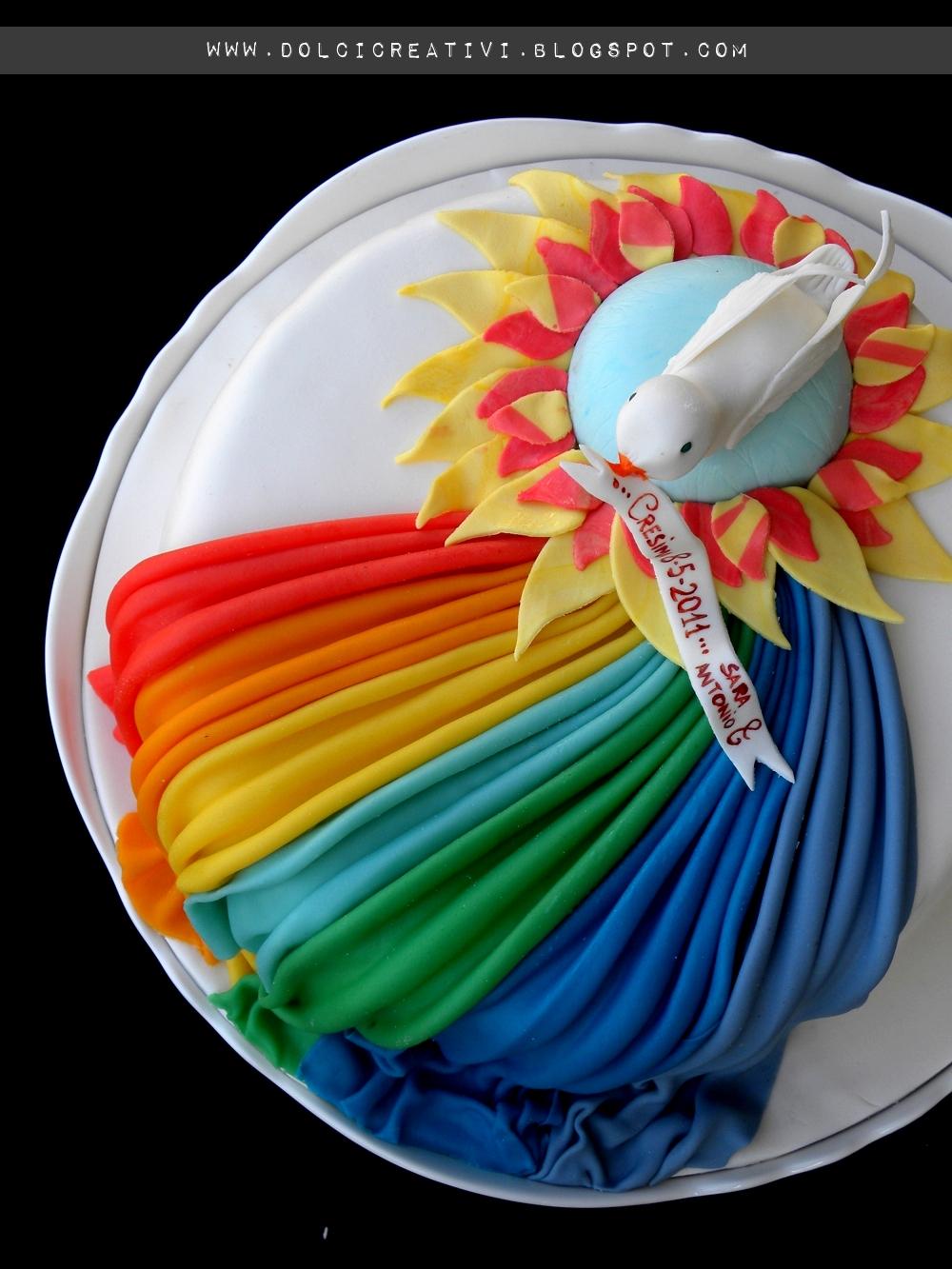 Rainbow cake per la nostra cresima for Decorazioni torte per cresima
