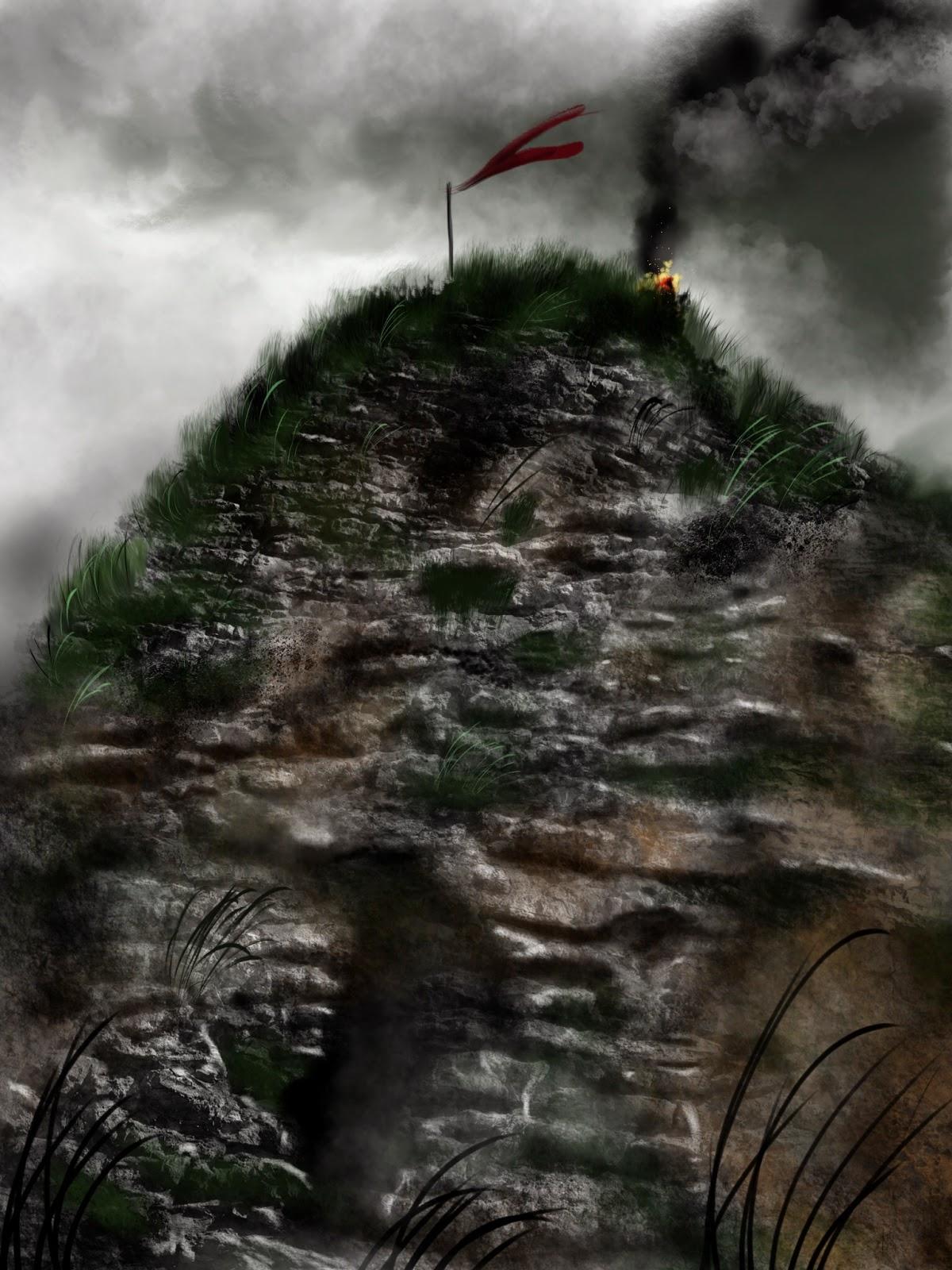 dessin paysage rocheux étude roche