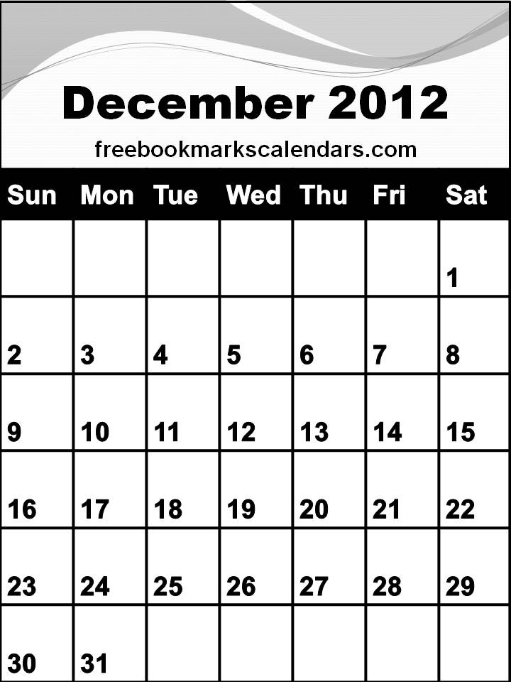 Free Planner 2012 December / Blank Calendar December 2012