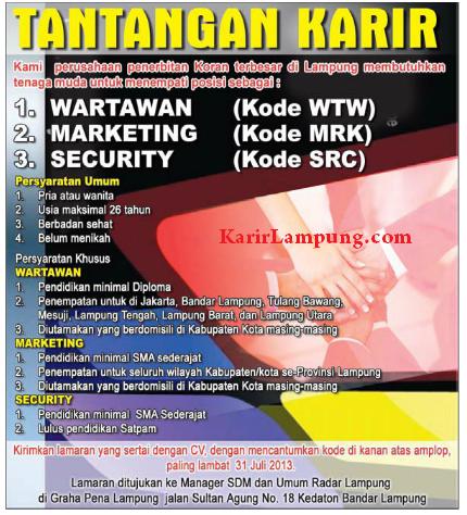 Lowongan Kerja Radar Lampung Terbaru 2013
