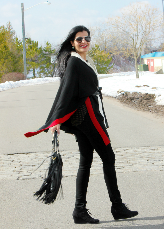 Spring Outfit Ideas, How To Wear A Ruana, How To Wear A Poncho Cape Wrap