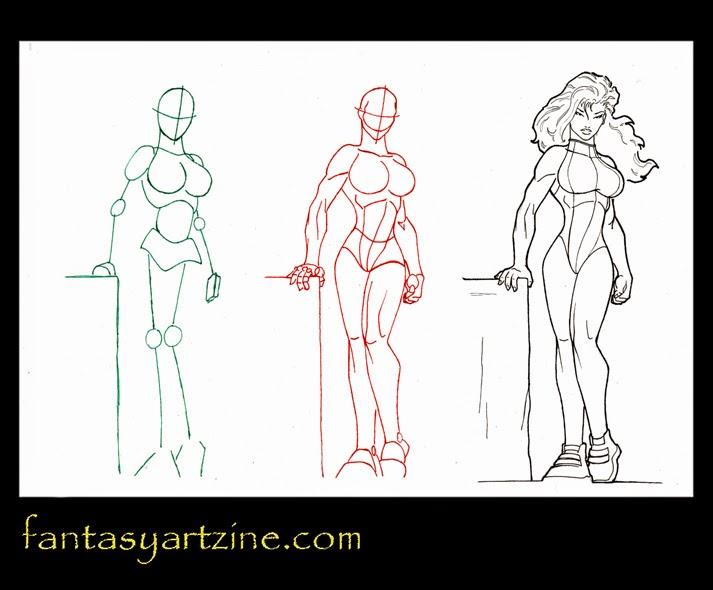 How to draw She-Hulk, Marvel comics superheroine step by step.