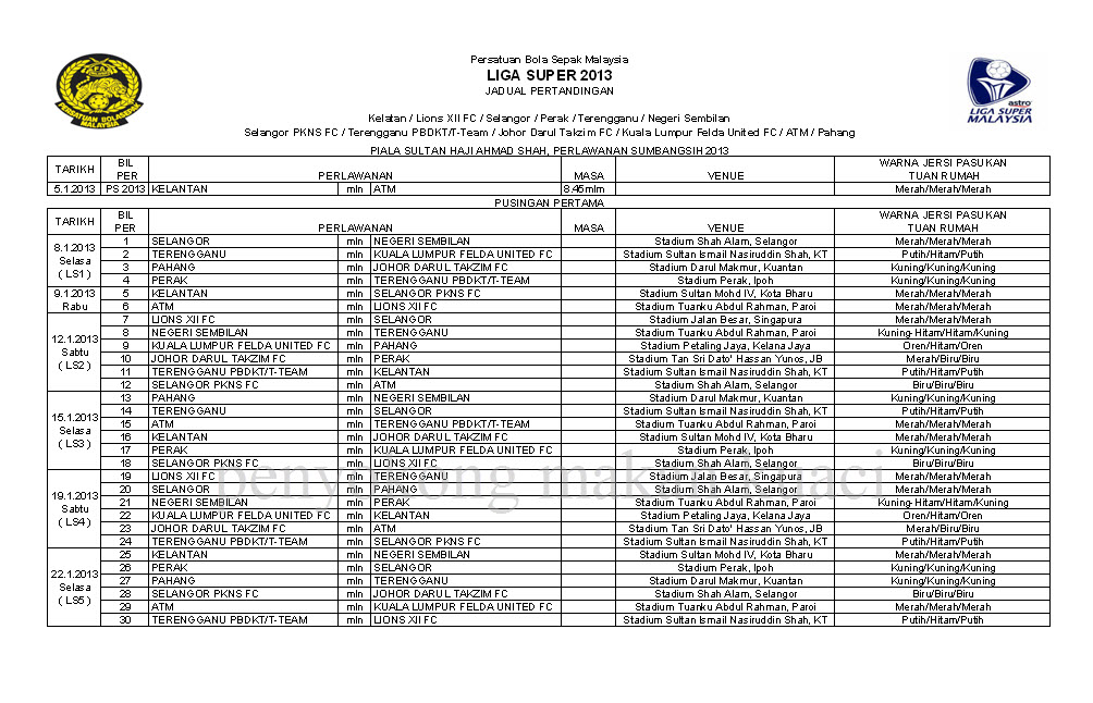 JADUAL LIGA SUPER MALAYSIA 2013