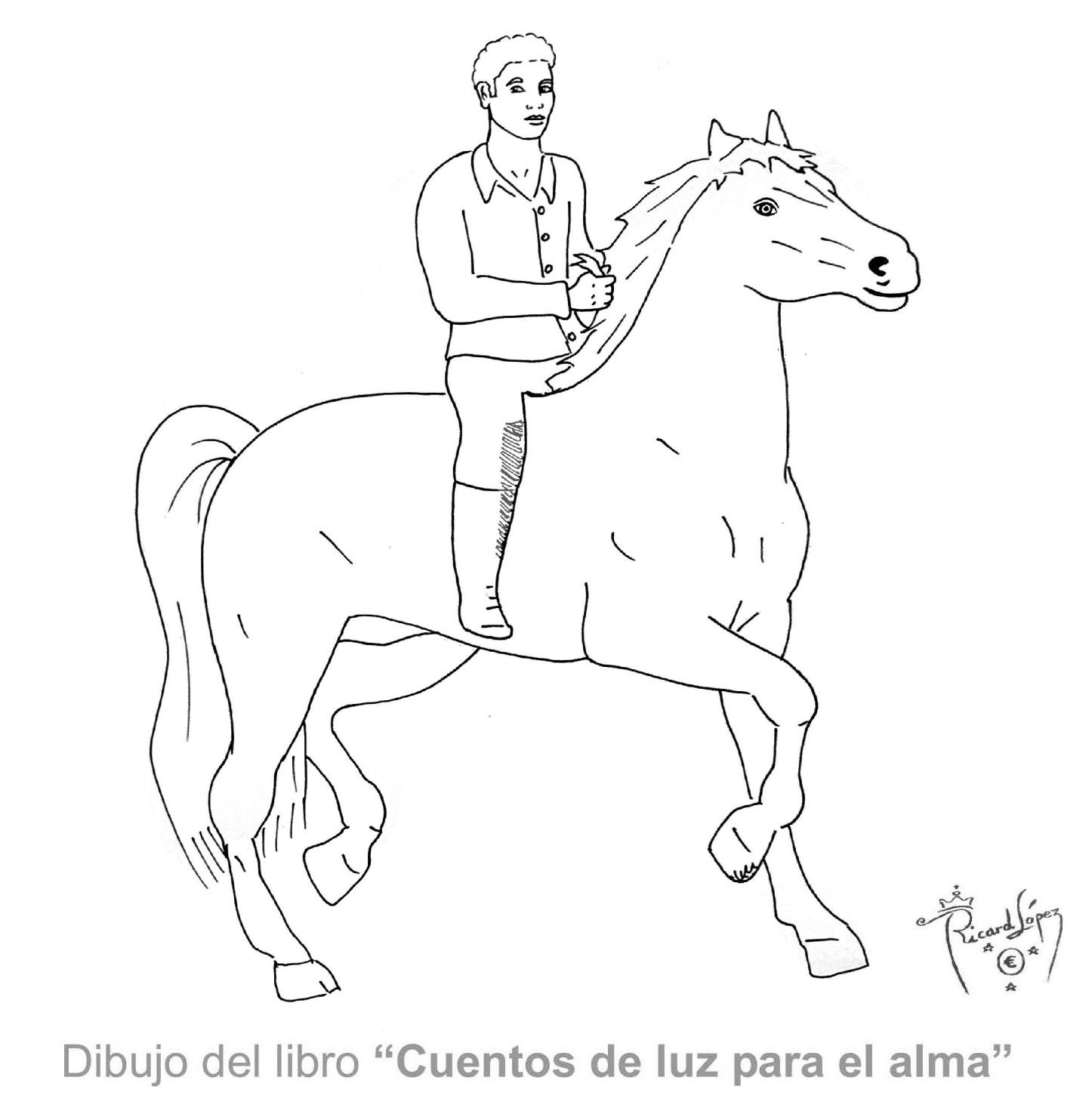 Dorable Caballo Y Jinete Para Colorear Ilustración - Ideas Para ...