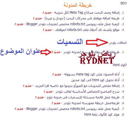 طريقة انشاء خريطة مفهرسة لمدونة بلوجر مفهرسة حسب تسميات بلوجر