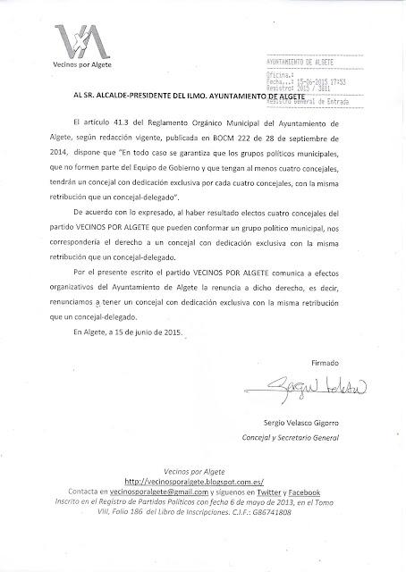Comunicación de la renuncia a tener un concejal liberado