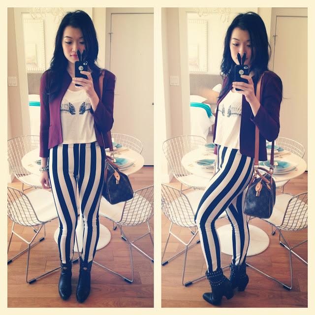 wantering spring trends black and white strips, black and white stripe leggings, evil twin crop top, maroon crop blazer from aritzia, louis vuitton speedy 25