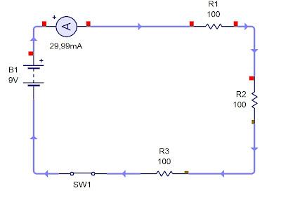circuito serie con tres resistores de 100 ohmios
