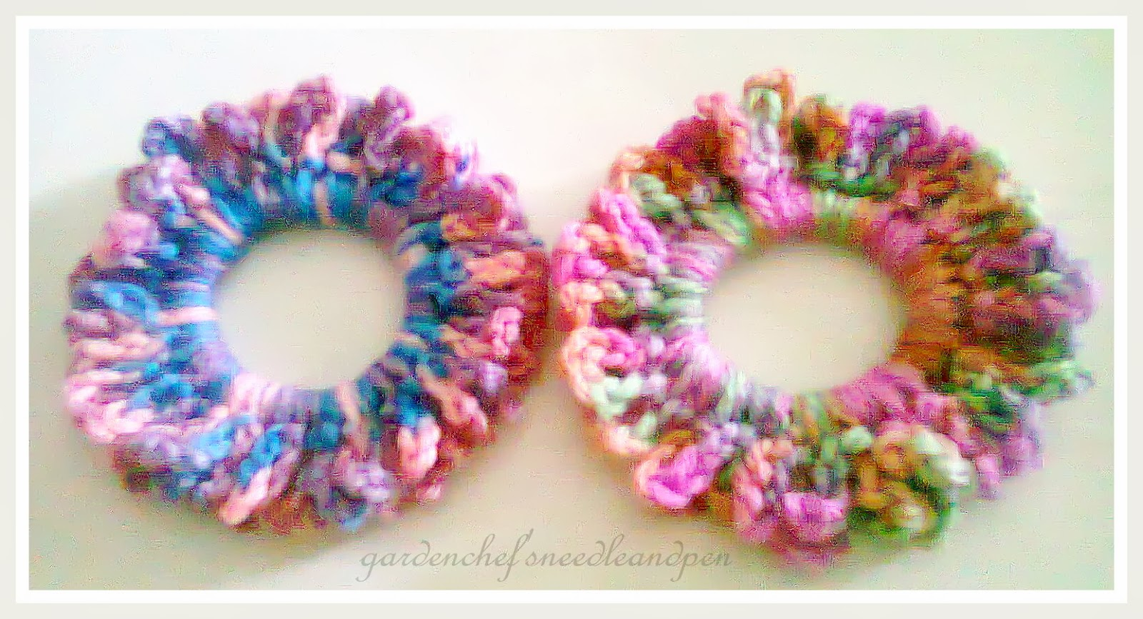 Crochet Hair Scrunchie : Garden Chefs Needle and Pen: Lacy Hair Scrunchies