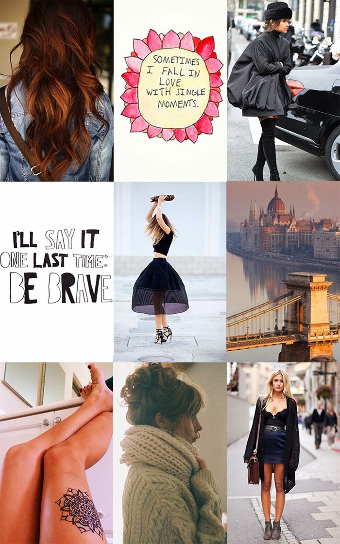 Inspiration collage with quotes, Miraslava Duma, streetstyle, Budapest, and fashion.