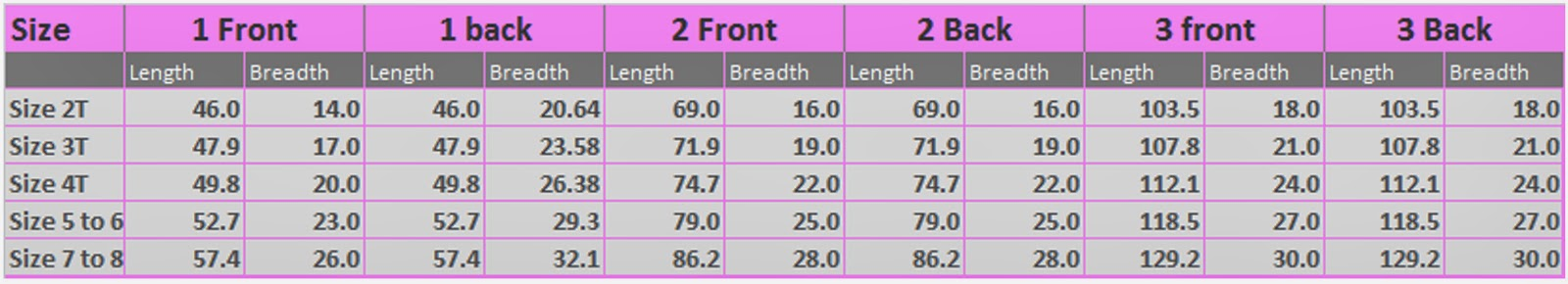 Summer dress measurements girl