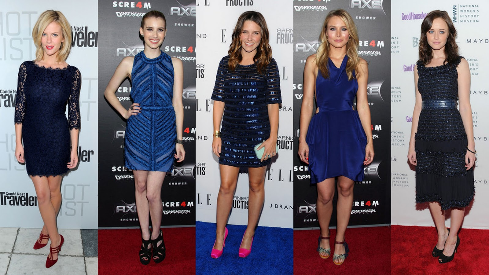Frills And Thrills Red Carpet Trend Dark Blue Dresses
