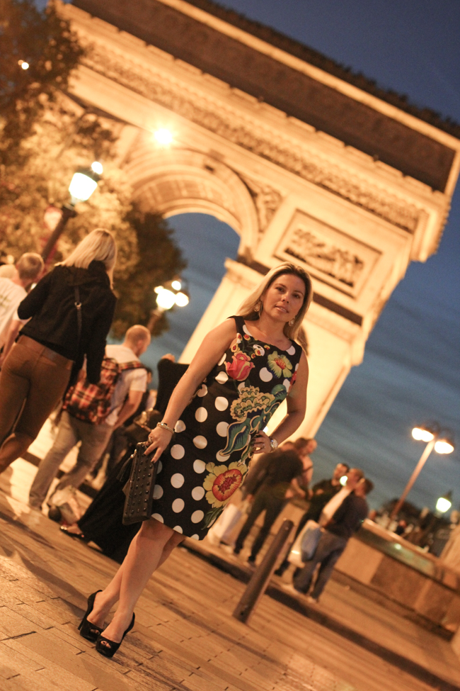 desigual polka dot and flower dress by the arc de triomphe
