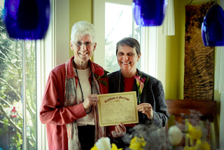 Jill & Chris with marriage certificate - Patricia Stimac, Seattle Wedding Officiant