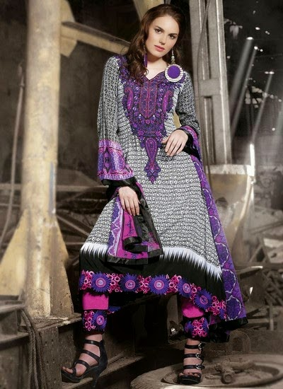 Printed Pakistani Suits 2014-2015