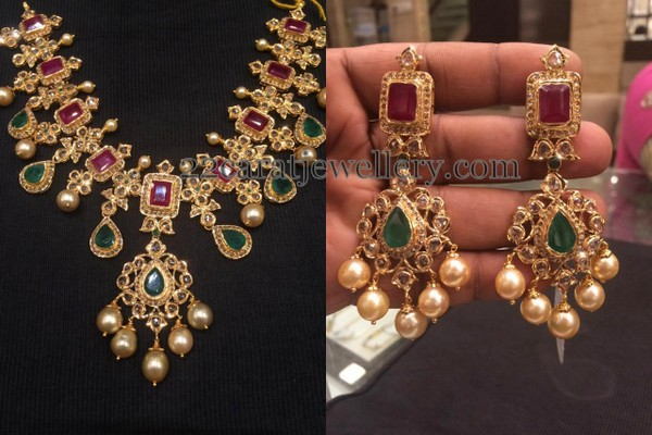 jewellery earrings devi necklace lakshmi diamond designs and uncut