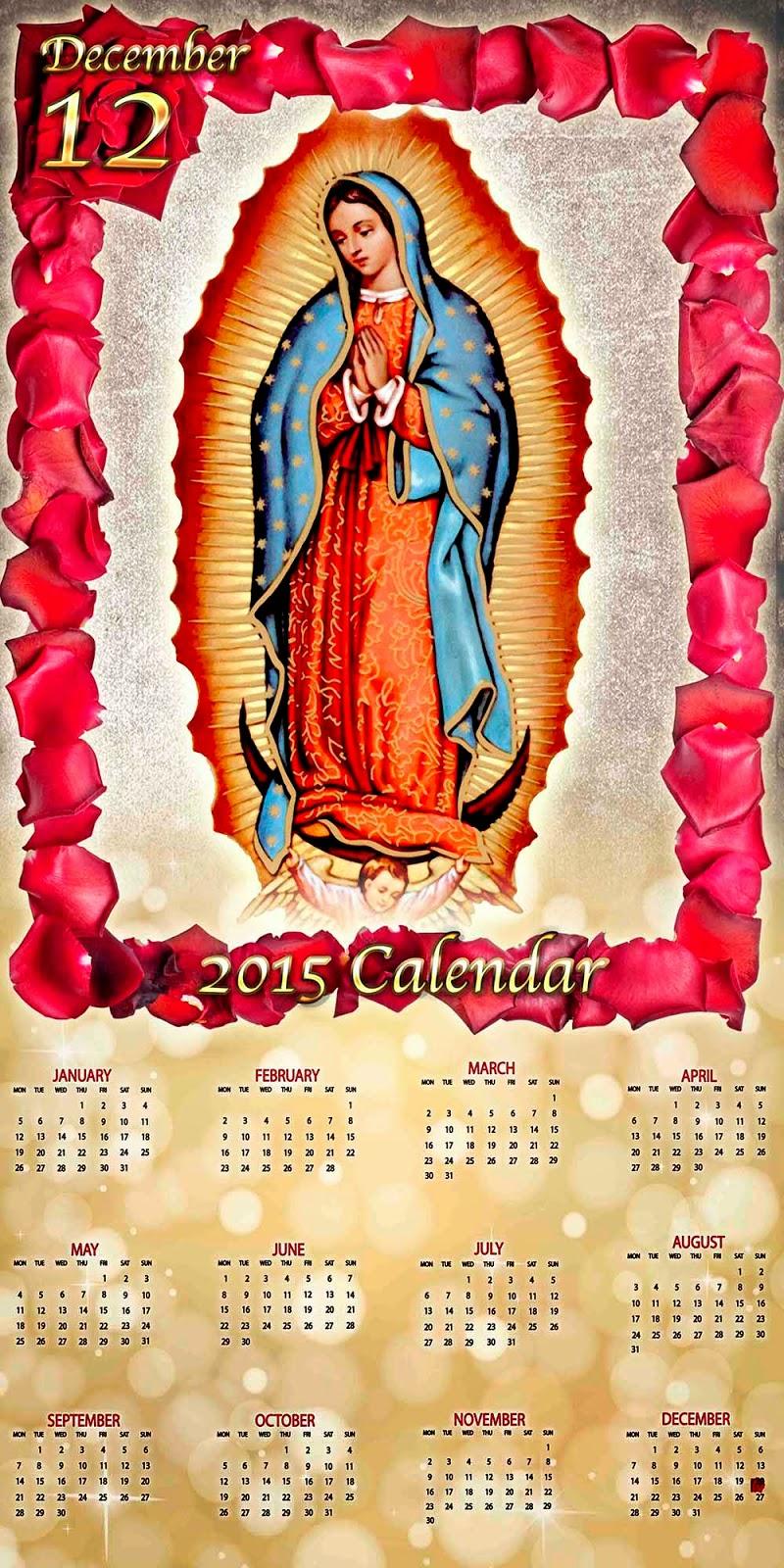 Pergamino guadalupano con calendario 2015
