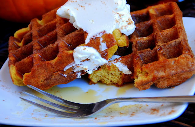 close up of pumpkin waffles with whipped cream on top with bite cut out of it