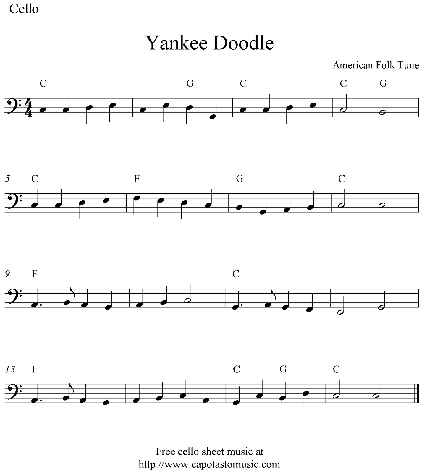 Yankee Doodle, free cello sheet music notes
