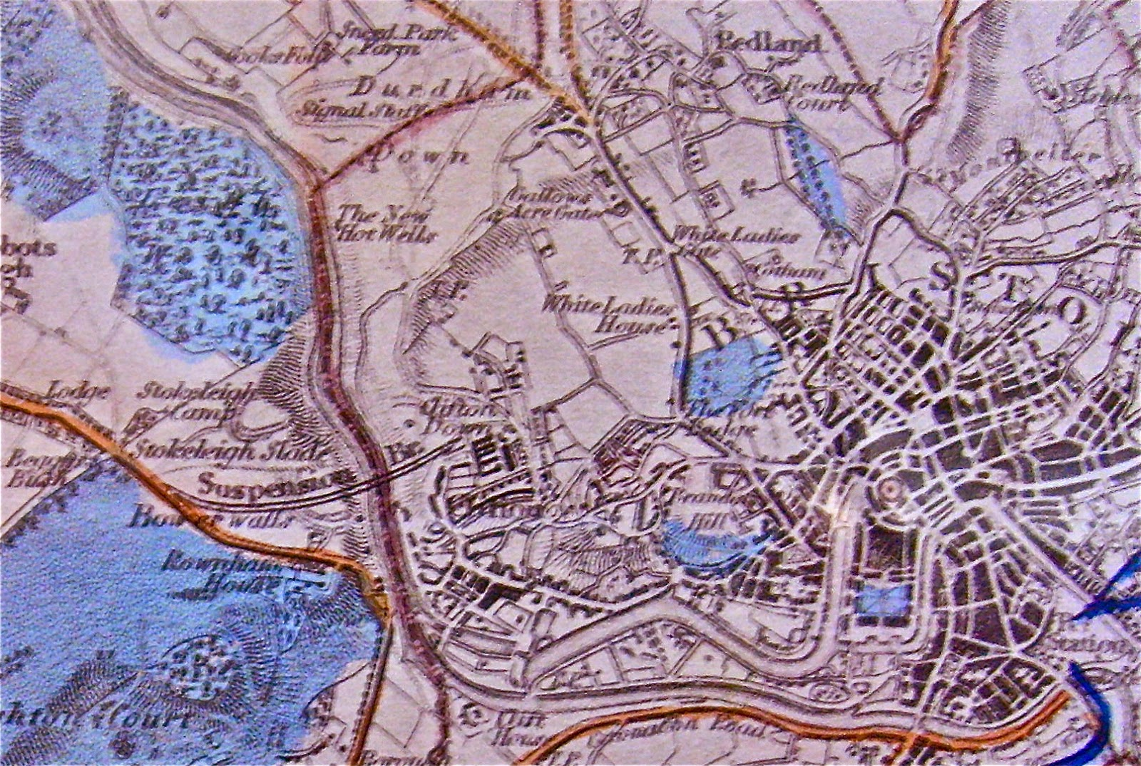 a section of an early 19c map including the ashton court estate to the west of present bristol west and the new clifton st paul s and montpelier