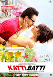 Imran Khan and Kangana Ranaut about to kiss, leaning on the railing of balcony in Katti Batti movie poster