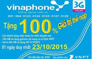 Khuyến mãi 100% giá trị thẻ nạp Vinaphone ngày 23/10