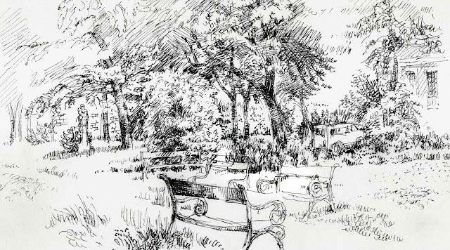 arenberg, park, wien, garten,filzstift, zeichnung, fruehling, spring, garden, artistic impression, inspiration, trees, flowers, sculpure, car