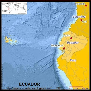 Mapa de ECUADOR, (PLANIGLOBE)
