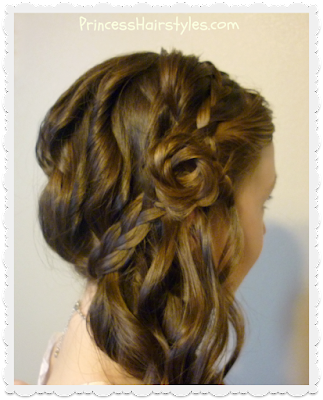 Romantic side swept braided rose hairstyle tutorial