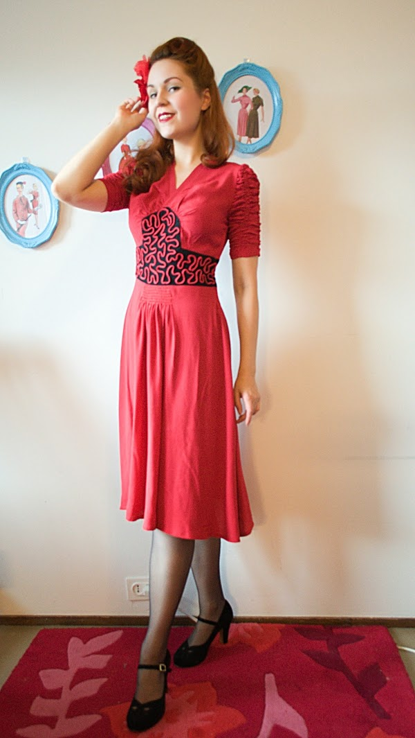 40s inspired rayon crepe dress by Cherise