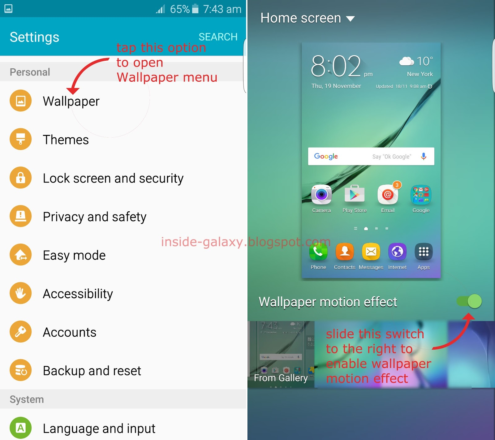 Samsung Galaxy S6 Edge How To Enable And Use Wallpaper Motion