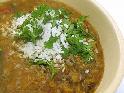 Tangy Red Lentil Dal with Goda Masala (Amti)