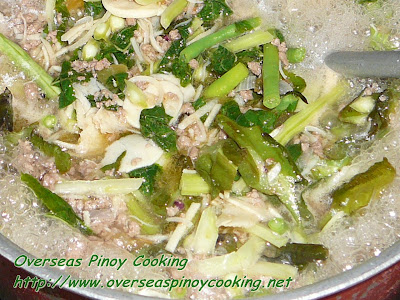 Sautéed Ilocano Vegetables with Ground Pork -Cooking Procedure