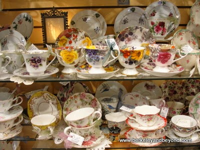 china tea cup display at Edelweiss gift shop in Solvang, CA