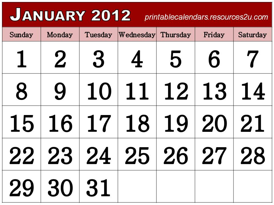 free printable homemade 2012 calendars and planners calendars blank