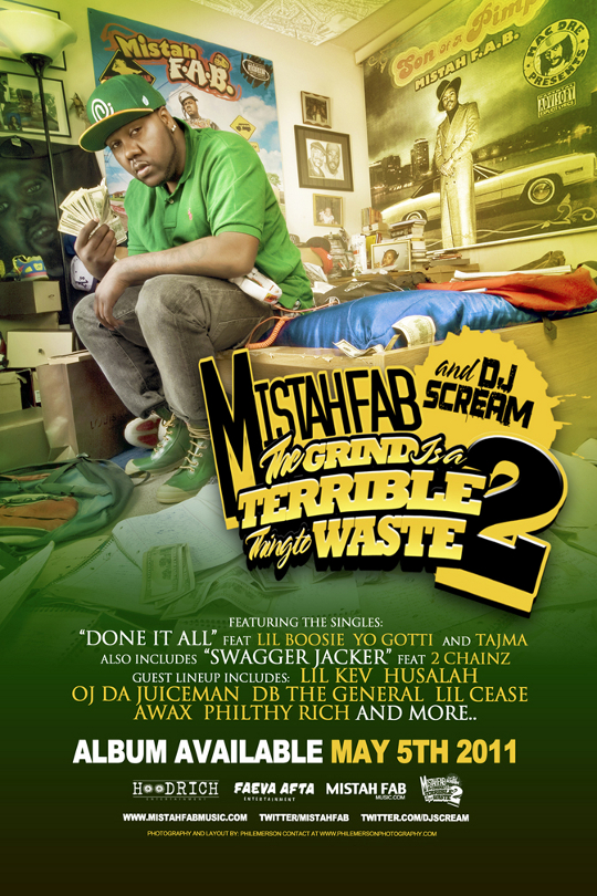 mistah fab dj scream the grind is a terrible thing to waste 2 cover flyer