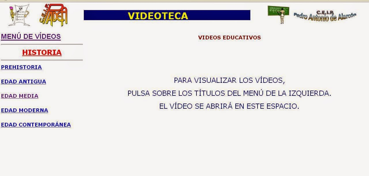 http://www.educa.madrid.org/web/cp.alarcon.valdemoro/Web/ColePAA15/Nueva%20Zona%20Virtual/Web%20Acceso%20recursos%20AI/VIDEOS/InicioVideoteca.htm