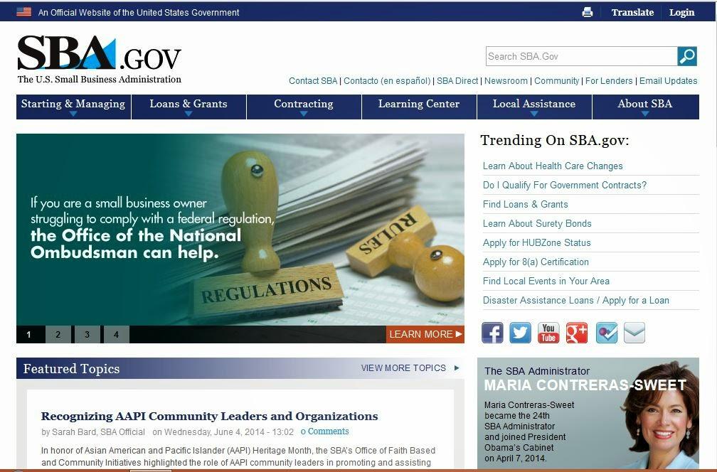 SBA website screen capture.