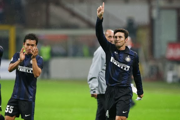 Inter Milan captain Javier Zanetti salutes the crowd after a match against Livorno