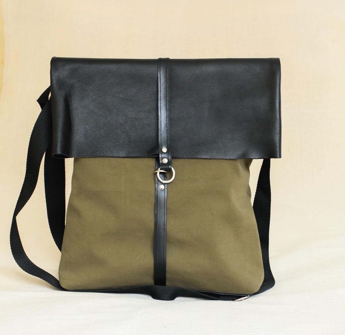 Большая сумка с кожаными деталями