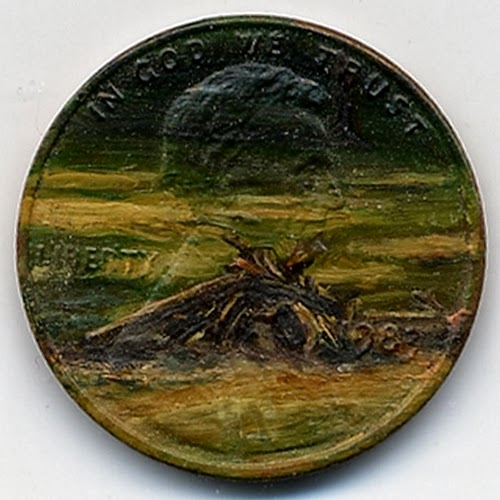 03-A-Pile-of-Burnt-Wood-1983-Artist-Jacqueline-L-Skaggs-Discarded-Pennies-Oil-Painting-on-Coins-www-designstack-co