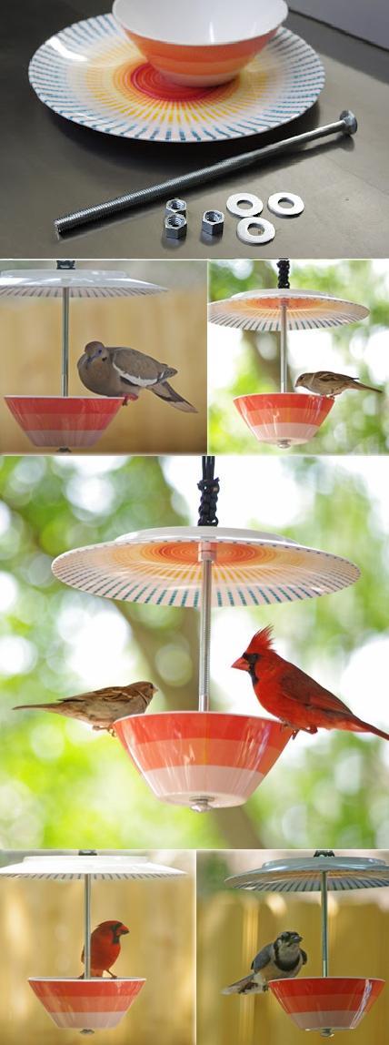 como fazer bebedouro para pássaros usando pratos de plastico faça você mesmo
