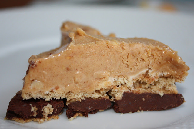 Peanut butter pie made with peanut butter mousse or frosting and chocolate ganache