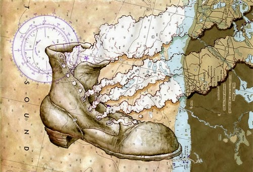 01-Smokin'-Boot-Artist-Paul-Morstad-Cartographic-Maps-Vancouver-Canada-Collage-Water-Colour-Gouache-Oil-Paints-www-designstack-co