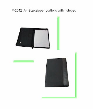 "CENTRUM LINK - NEW - ""Black A4 Sized Zipper Portfolio With Note Book"" - P-2042"