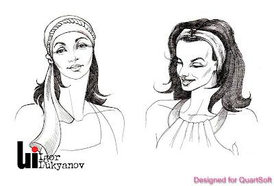 croquis de mode (dessin femmes avec fichus)